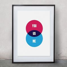 You Me Us retro 8x11 art print from original by thegoodpress #romance #print #art