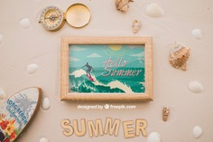 Summer theme with frame and surfboard Free Psd. See more inspiration related to Frame, Mockup, Summer, Beach, Sea, Sun, Photo frame, Photo, Holiday, Mock up, Decorative, Vacation, Sand, Summer beach, Marine, Up, Season, Theme, Surfboard, Shells, Composition, Mock, Summertime and Seasonal on Freepik.