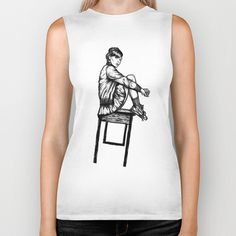Worldwide Shipping + $5 Off New Biker Tanks http://society6.com/doubler?promo=42a670 #white #girl #design #top #tank #black #illustration #tee #and #society6 #biker