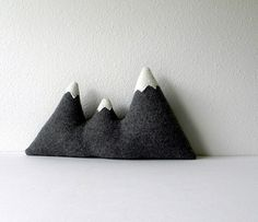 Grey wool mountain range pillow #mountain #diy #pillow