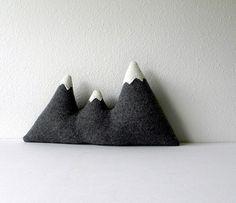 Grey wool mountain range pillow