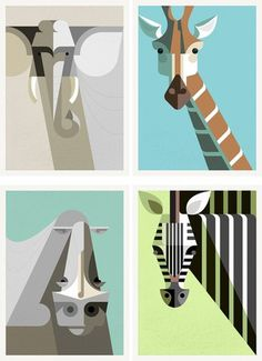 Lumadessa | African Mammals Portrait Set #abstract #minimal #geometric #animals