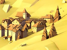 Alpine_village #illustration #low #poly