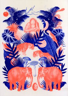 Deep Forest - kellyc Riso Print #illustration