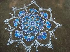 The cool blue rangoli design
