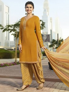 Bollywood Diva Prachi Desai Yellow Crepe Embroidered Straight Cut Suit Online at Best Price.