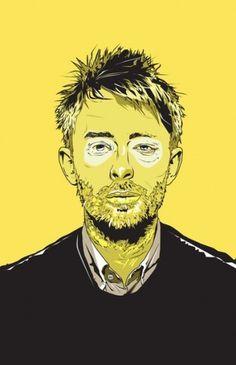 Thom Yorke Art Print by Matt Fontaine | Society6 #vector #portrait #yellow #radiohead #digital #thomyorke