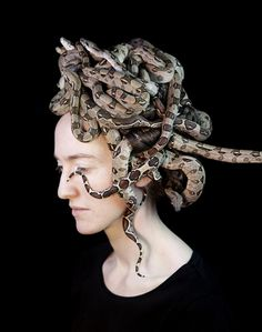 Juul Kraijer - Untitled 2014 #snakes #slither #woman #medusa #head #serpent #hair #photography #reptile #portrait #animal