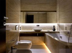 Trendy Functional and Contemporary Home fashionable moody dark living bathroom