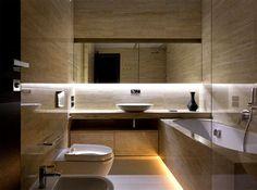 Trendy Functional and Contemporary Home fashionable moody dark living bathroom #interior #bath #design #bathroom