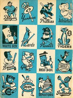 BaseballMascots_1956.jpg #mlb #logos #yankees #vintage #sox #york #baseball #new
