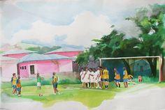 Adam de Boer - Free Kick: The San Carlos Futbol Team Versus Playa Hermosa #painting #art #watercolour