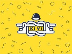 KiVi logo sign #branding #identity #hipster #trandy #minimal #sign #mark #logo #hat #pattern #yellow #rock