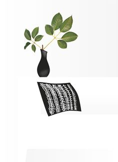 Black and White and Green #white #green #black #leaf #couch #flower #vase #flowe #black pillow