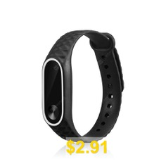 Replacement #Silicone #Watch #Bracelet #Band #Wrist #Strap #for #Xiaomi #Mi #Band #2 #- #BLACK