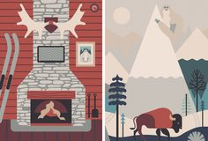 #illustration #fireplace #winter