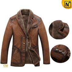 Mens xxl Tan Shearling Coat CW819075 - cwmalls.com #shearling #coat