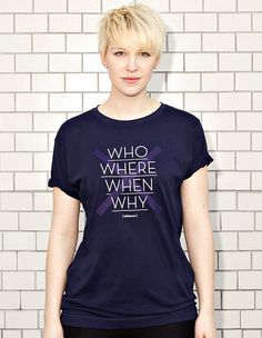 NATRI - CROSS TYPE - who, where, when, why - whatever - navy blue t-shirt - women #modern #design #graphic #shirt #minimal #fashion #type #typography