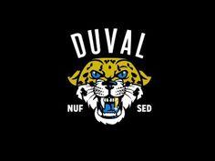 DUVAL #angry #mascot #feline #jaguar #cat #fierce #jag #lockup #sports #vintage #gold #logo #blue