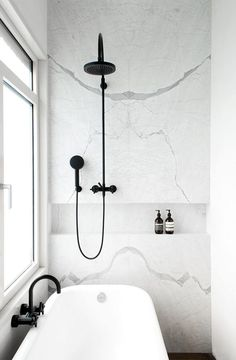 Bathroom with black details. JVR Apartment by Dieter Vander Velpen. Photo by Patricia Goijens. #minimal