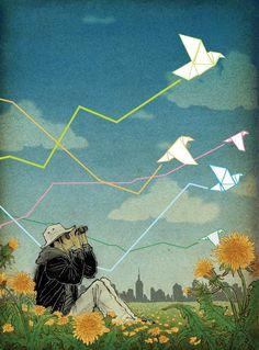 Yuko shimizu illustration - Paper birds