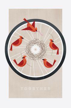 Public Bikes Poster #birds #frank #bike #poster #chimera