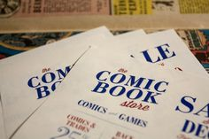 The Comic Book Store partial flyer design #old #red #tan #serif #flyer #yellow #retro #identity #vintage #logo #layout #blue