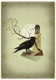 Ilustração | Triângulos StudioLibre #house #tree #macabre #haunted #illustration #strange #crow
