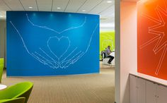 GlaxoSmithKline US HQ. Designed by Pentagram @enviromeant.com #graphics #wall