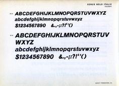 Venus Bold Italic type specimen