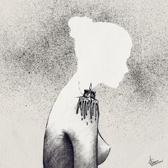 Slava Triptih #woman #candle #drawing #silhouette