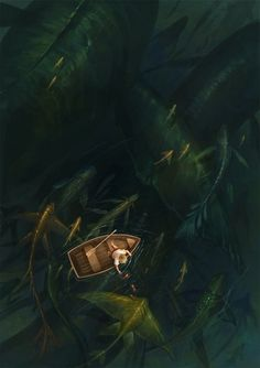 fishing by *sandara #water #monsters #digital #illustration #sea #boat #art #fishing