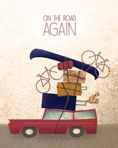 """On the Road Again"" - Illustration by Alex Felter #vacation #travel #illustration #overloaded #car"