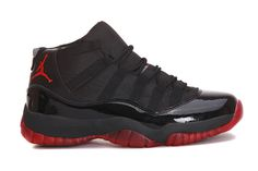 Nike Air Jordan 11 Retro Black Red Custom Mens Shoes #shoes