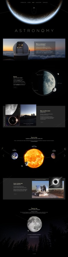 Landing page dedicated to astronomy on Behance