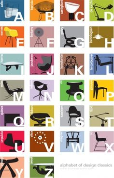 alphabet color | Blue Art Studio #classics #chairs #design #alphabet #typography