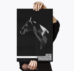 Dubai Film Festival Rebrand Pitch on Behance #horse #polygon #white #graphic #black #digital