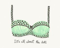 The Under Girl #lingerie #girl #the #dots #illustration #handwritten #under #fashion #polka #green