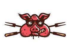 Drib84 #pig #brand #illustration #logo #character #bbq