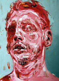 Andrew Salgado Art #white #red #head #art #paintings #man