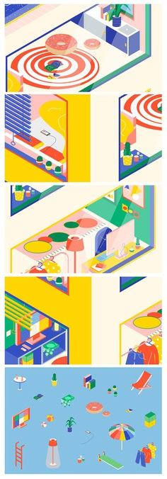 Isometric Illustrative House is a personal illustration project by Angela Chan depicting a brightly-coloured building and interiors. For more of the most beautiful designs visit mindsparklemag.com