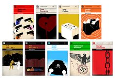 A Set of Penguin style book covers re-imagined for Quentin Tarantino\'s screenplays by London based designer Sharm Murugiah.