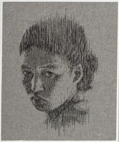 New Portraits by Kumi Yamashita Made with Nails, Thread, and Denim #pins