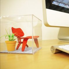 Mini Mid-Century Chair Terrarium #red #modern #gifts #chair #mid-century #office #cube #design #sculptures #desk #mid #art #century #paper #eames