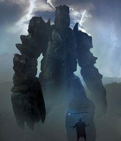Neutral Golem by leopardsnow #fantasy #giant #stone #golem #colossus #rock #illustration #magic #summon