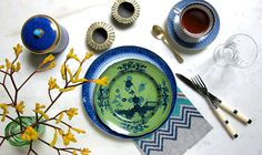 tablescape, photography, blue, green, styling