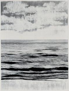 """Francisco Faria """"sea (erased)"""", 2009 graphite on paper, 150x110cm."""