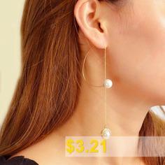 Fashion #Gold #C-shaped #Pearl #Pendant #Earrings #(Single) #1PC #- #GOLD