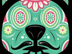 Dribbble - Day of the Dead by Michael Smith #vector #dead #of #sugar #the #mustache #day #bear #skull #flowers