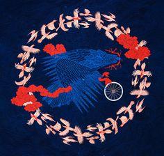 Tomski&Polanski illustration for bike collection #vector #ornate #tomski&polanski #bicycle #intricate #birds #colors #bike #czech #national